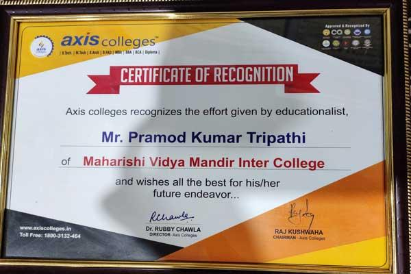 Merrit Certificate Presented By Axis Collages for Contribution in the field of education